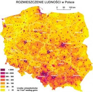 Polska rozmieszczenie ludności